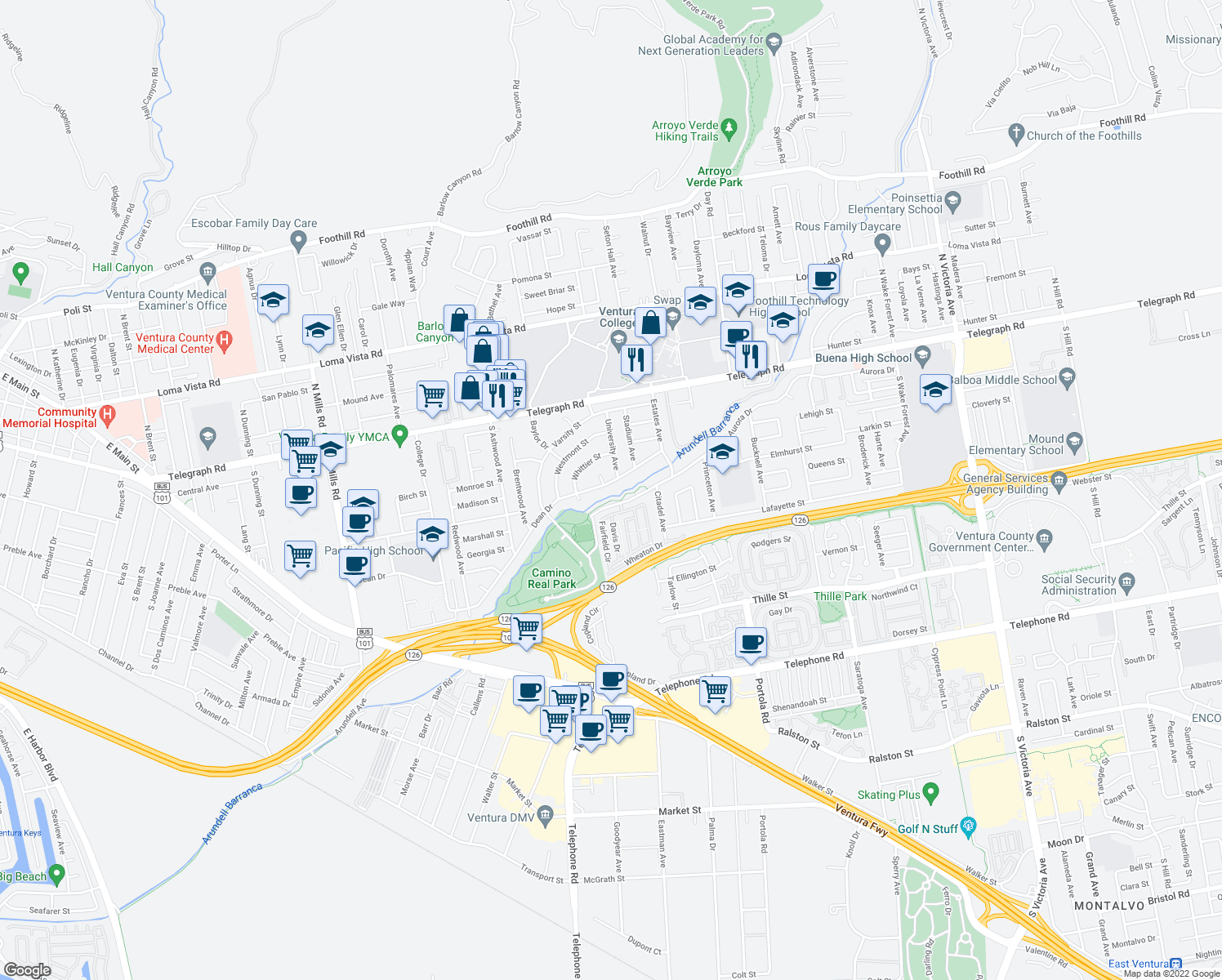 map of restaurants, bars, coffee shops, grocery stores, and more near 4508 Dean Dr in Ventura