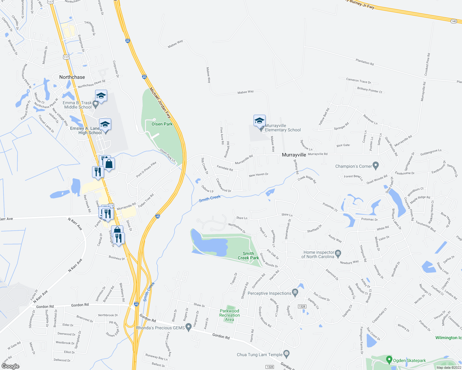 map of restaurants, bars, coffee shops, grocery stores, and more near 132 Meadowood Dr in Wilmington