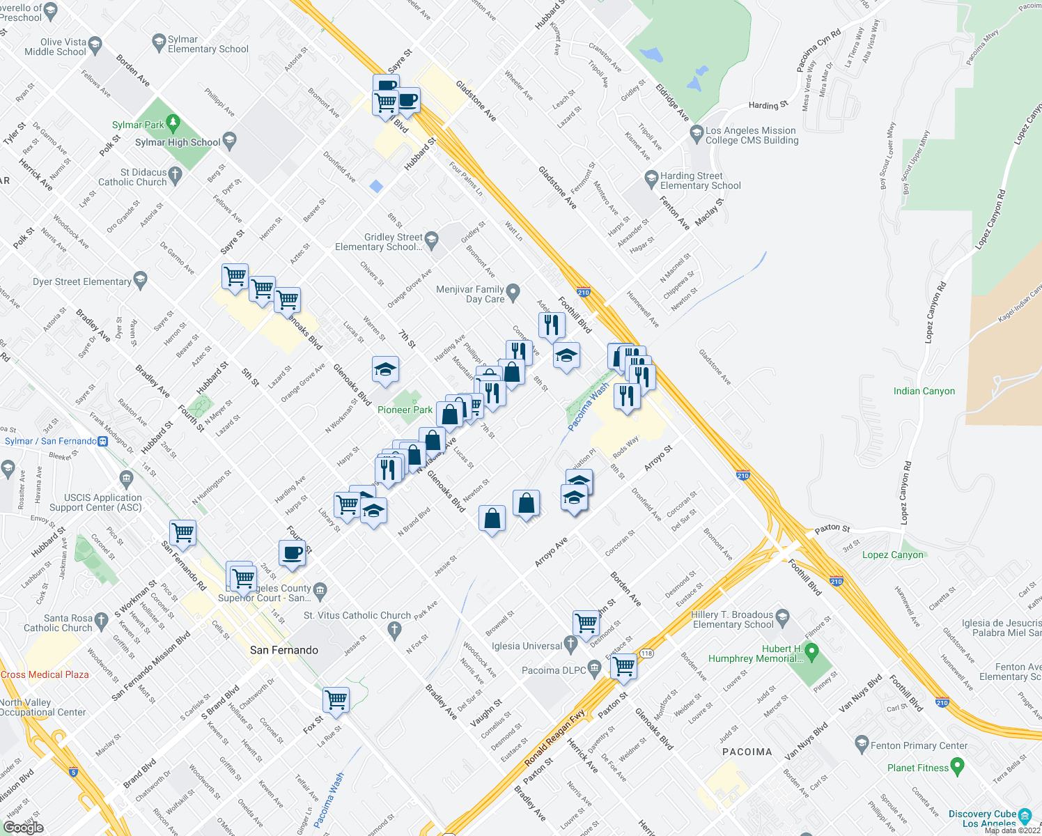 map of restaurants, bars, coffee shops, grocery stores, and more near 1064 N Macneil St in San Fernando