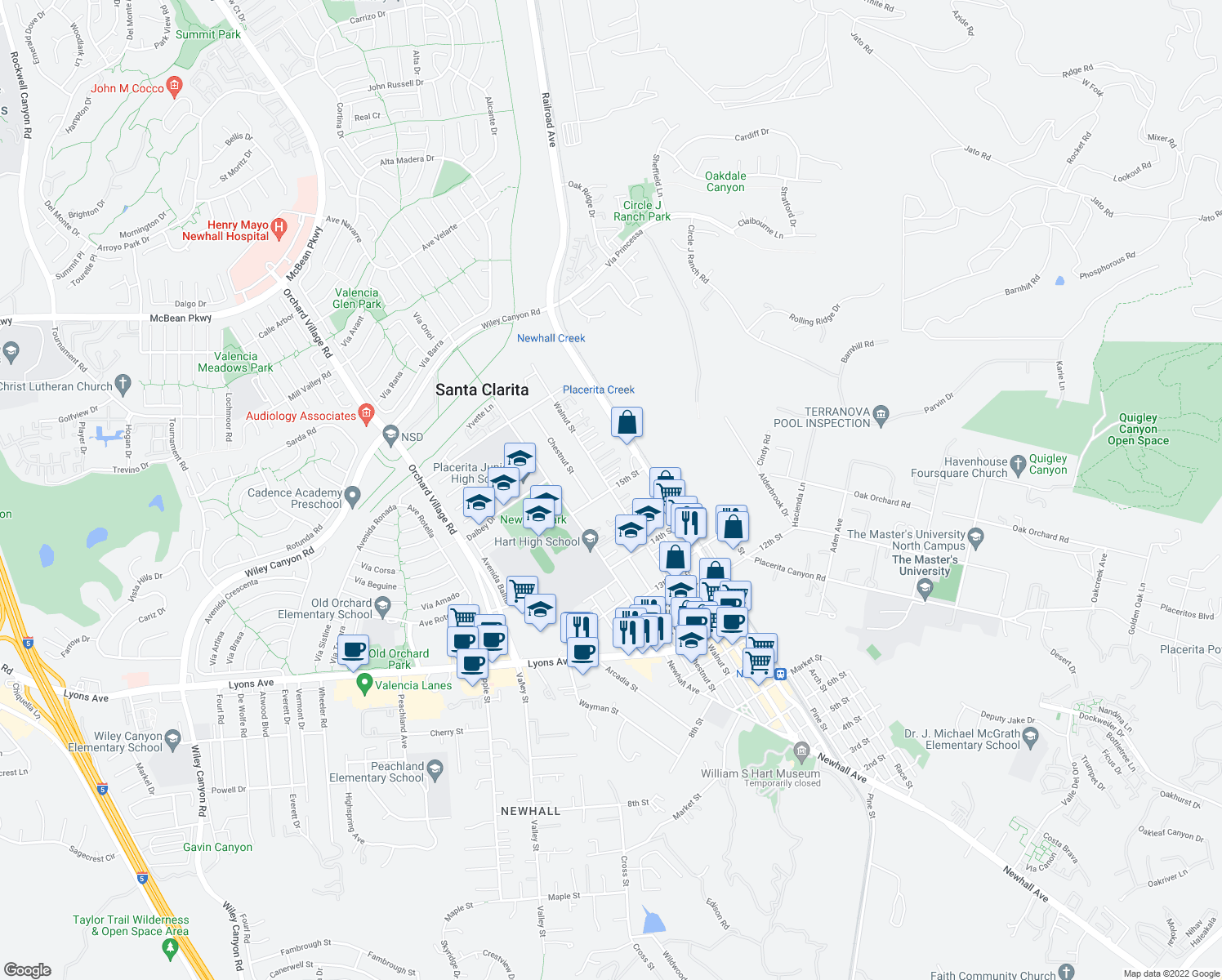 map of restaurants, bars, coffee shops, grocery stores, and more near Walnut St & 15th St in Santa Clarita