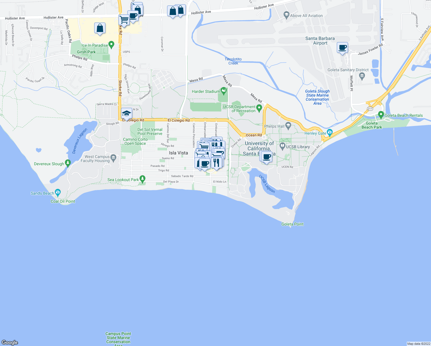 map of restaurants, bars, coffee shops, grocery stores, and more near 6539 Trigo Road in Goleta