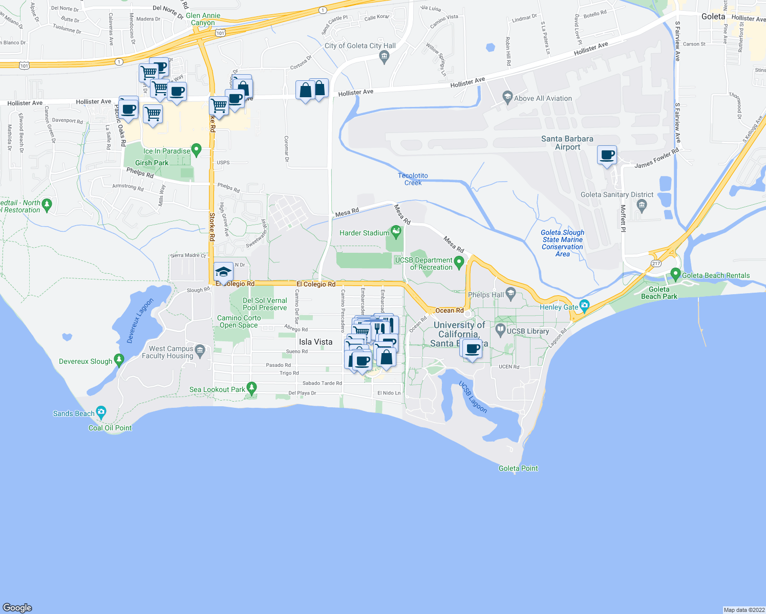 map of restaurants, bars, coffee shops, grocery stores, and more near Embarcadero Del Norte & El Greco Rd in Isla Vista