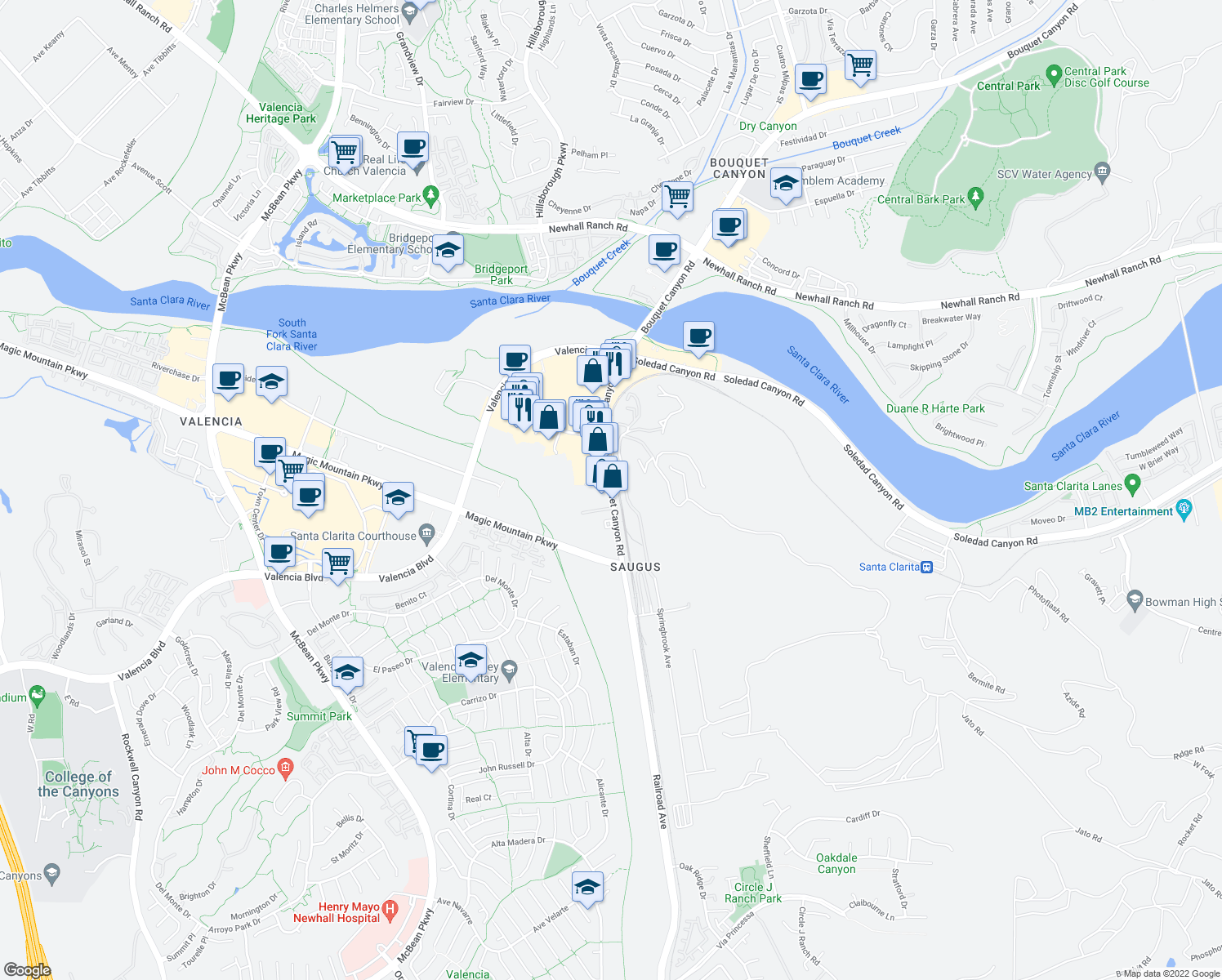map of restaurants, bars, coffee shops, grocery stores, and more near 26089-26101 Bouquet Canyon Road in Santa Clarita