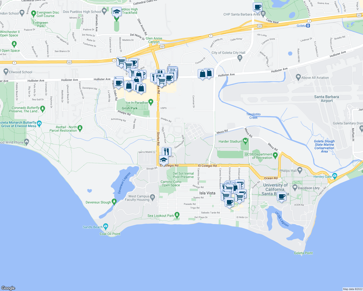 map of restaurants, bars, coffee shops, grocery stores, and more near 539 Fireside Ln in Goleta
