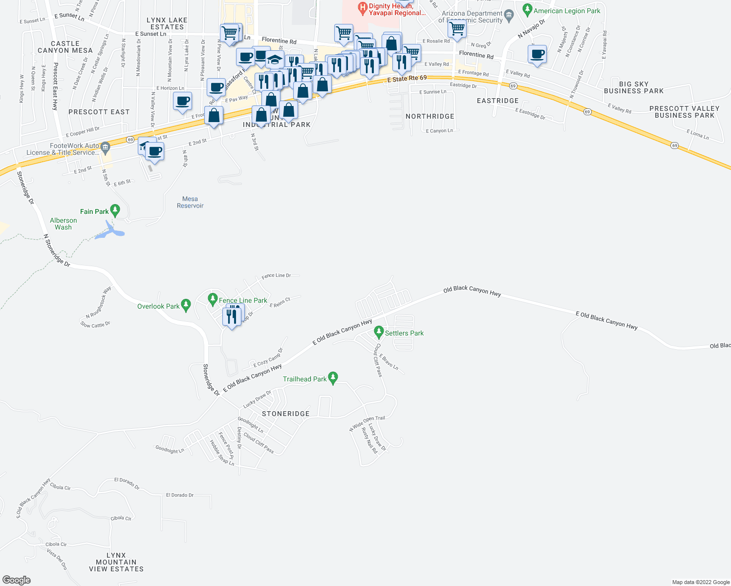map of restaurants, bars, coffee shops, grocery stores, and more near 1908 North Fire Butte Way in Prescott Valley