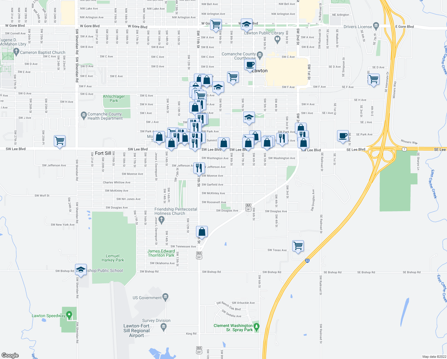 map of restaurants, bars, coffee shops, grocery stores, and more near 1600-1608 Southwest 9th Street in Lawton