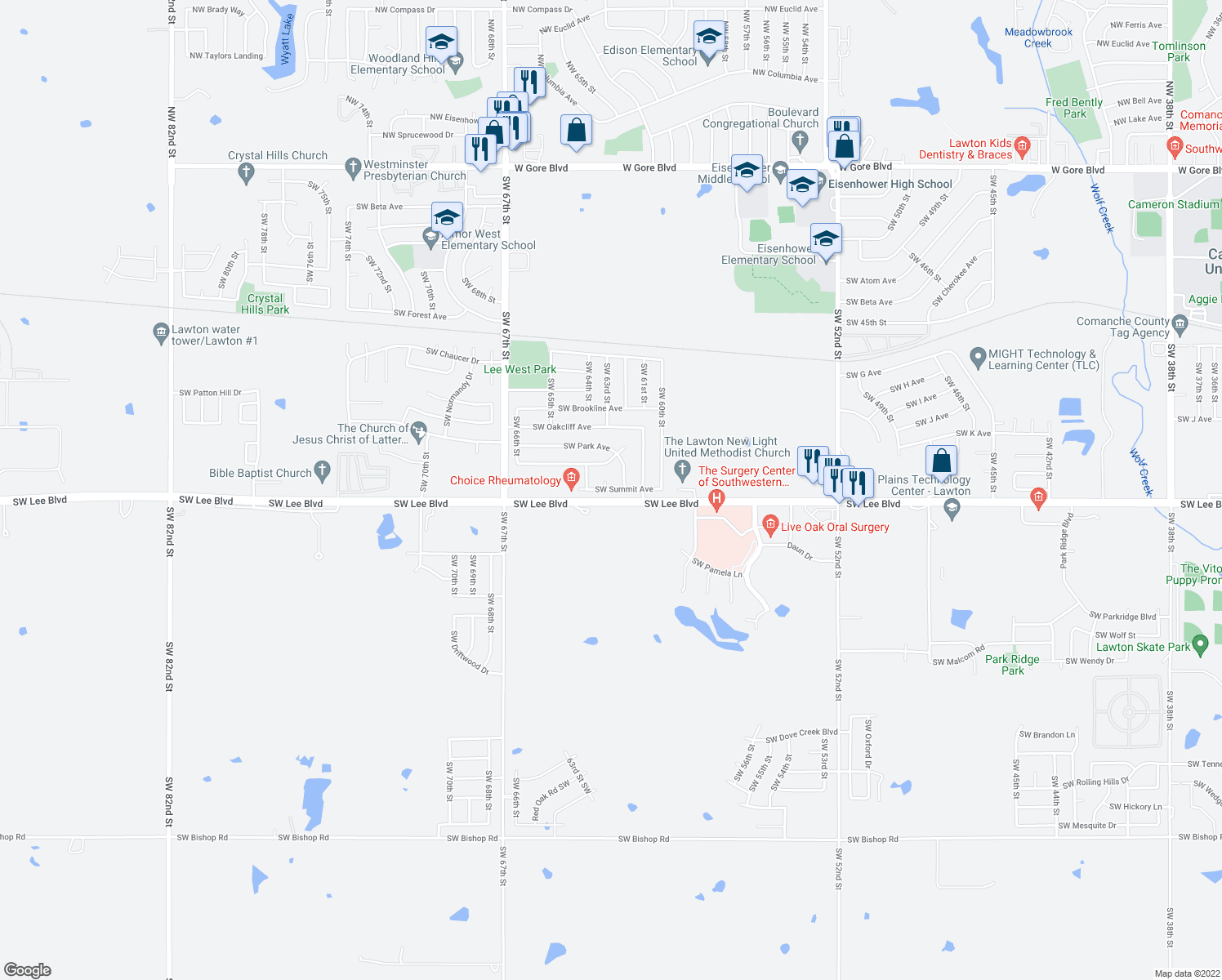 map of restaurants, bars, coffee shops, grocery stores, and more near 6401-6547 Southwest Lee Boulevard in Lawton