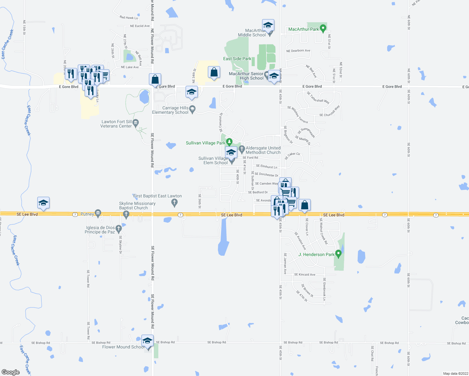 map of restaurants, bars, coffee shops, grocery stores, and more near 1006 Southeast Alta Lane in Lawton