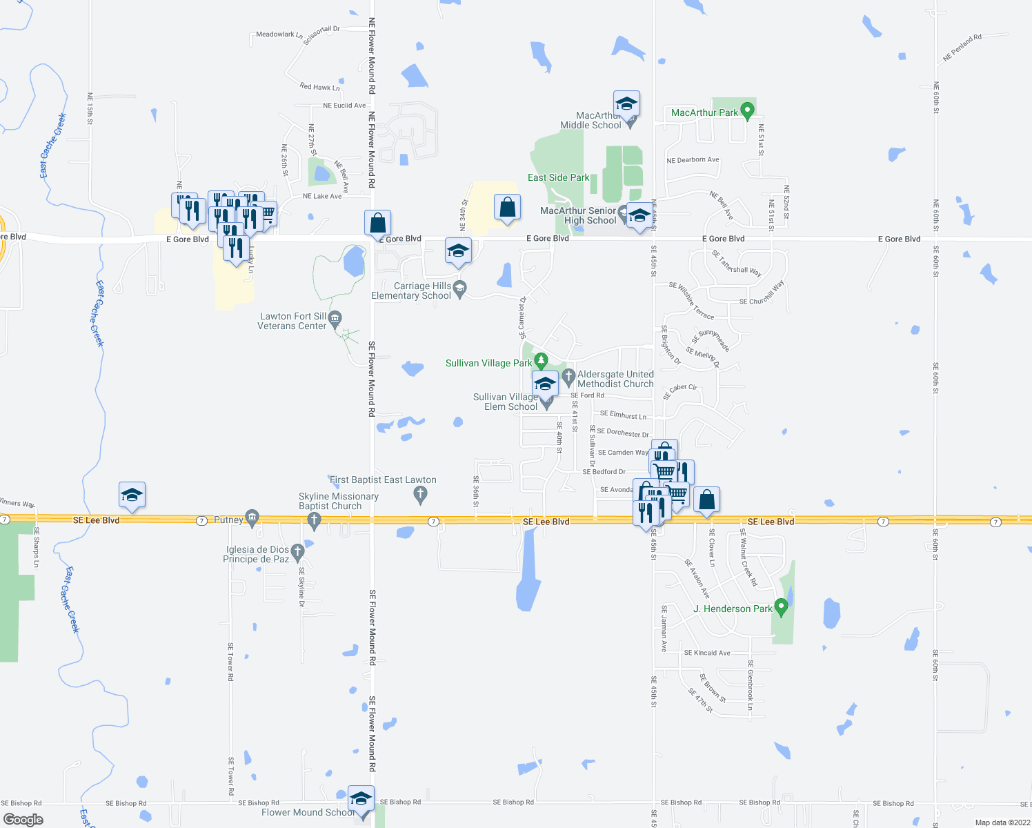 map of restaurants, bars, coffee shops, grocery stores, and more near 804-898 Southeast 38th Street in Lawton