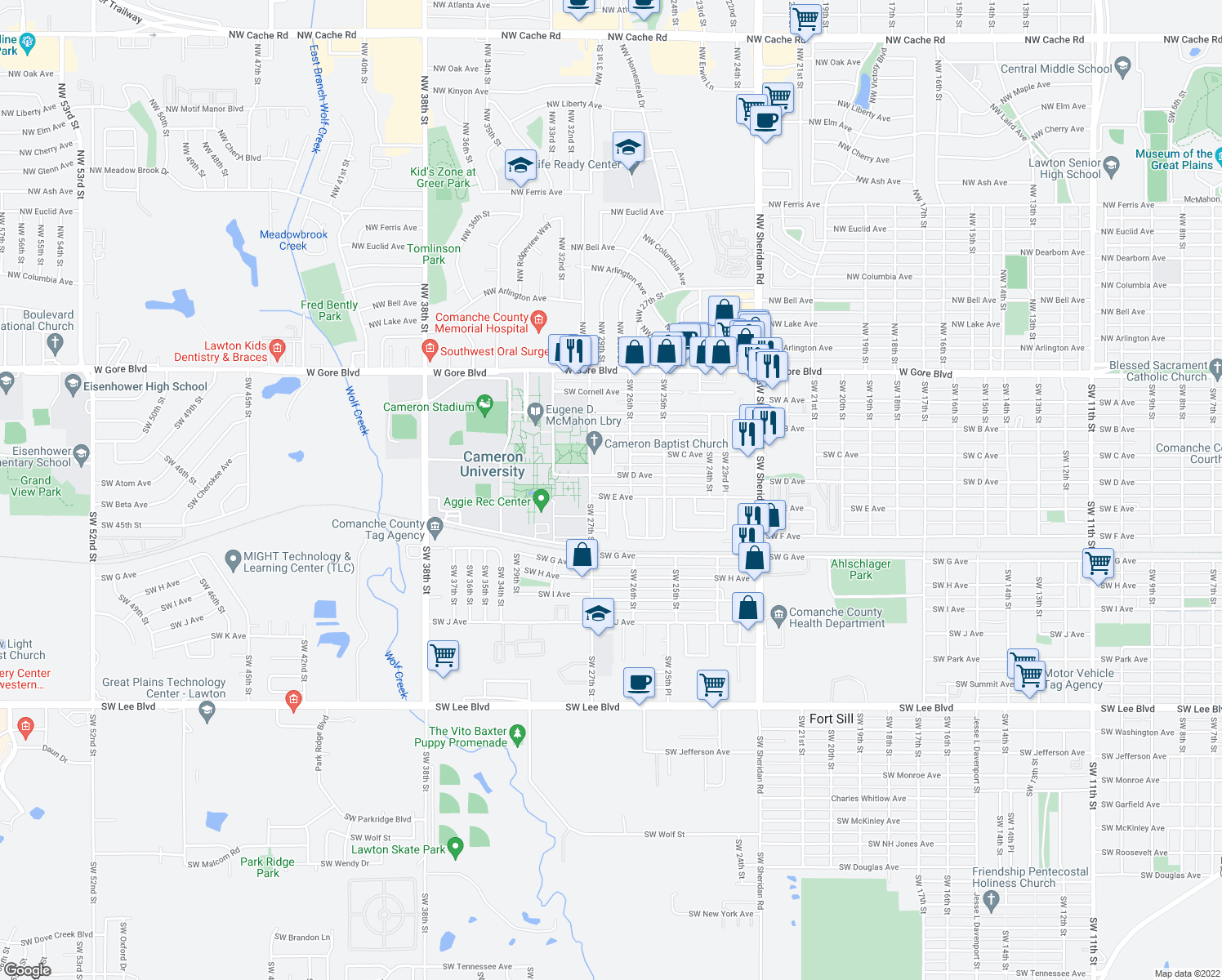 map of restaurants, bars, coffee shops, grocery stores, and more near 2611 Southwest E Avenue in Lawton