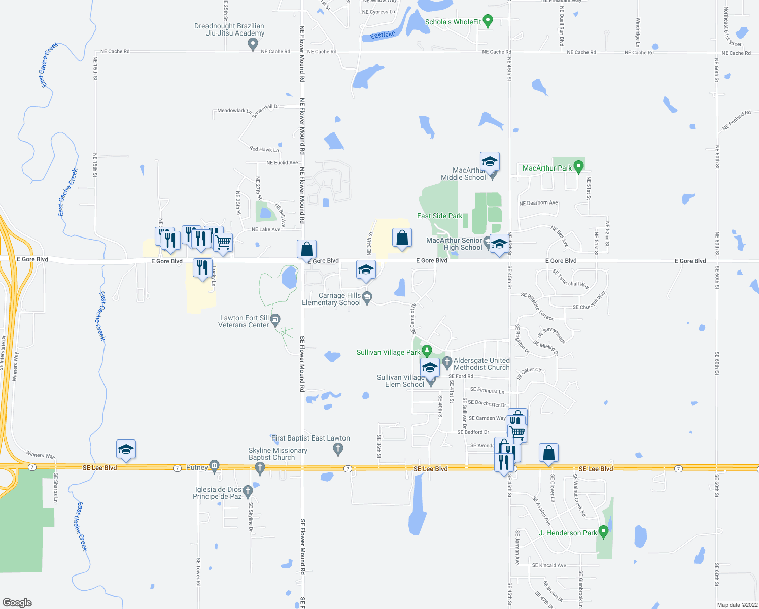 map of restaurants, bars, coffee shops, grocery stores, and more near 337-399 SE Warwick Way in Lawton