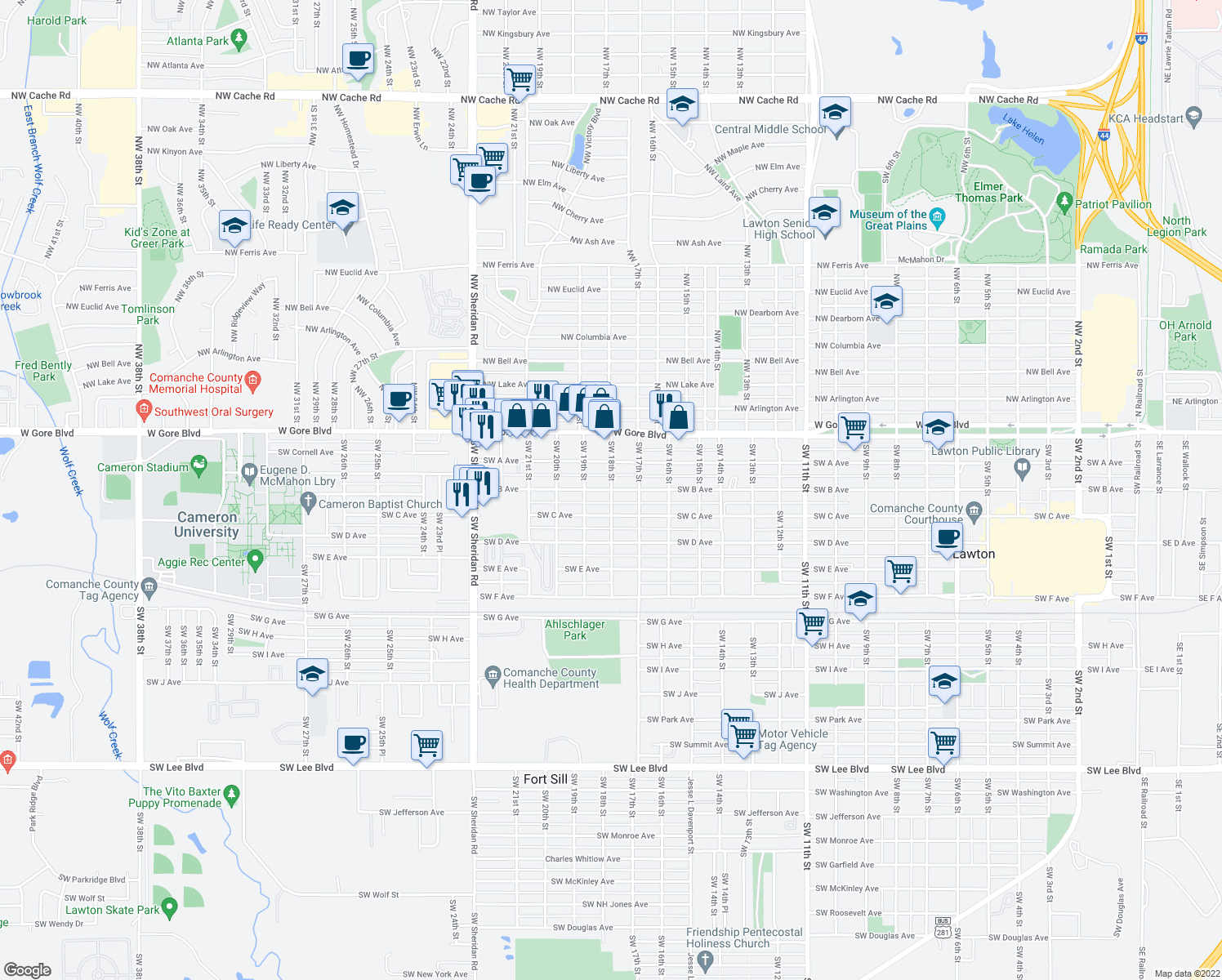 map of restaurants, bars, coffee shops, grocery stores, and more near 149-199 Southwest 18th Street in Lawton