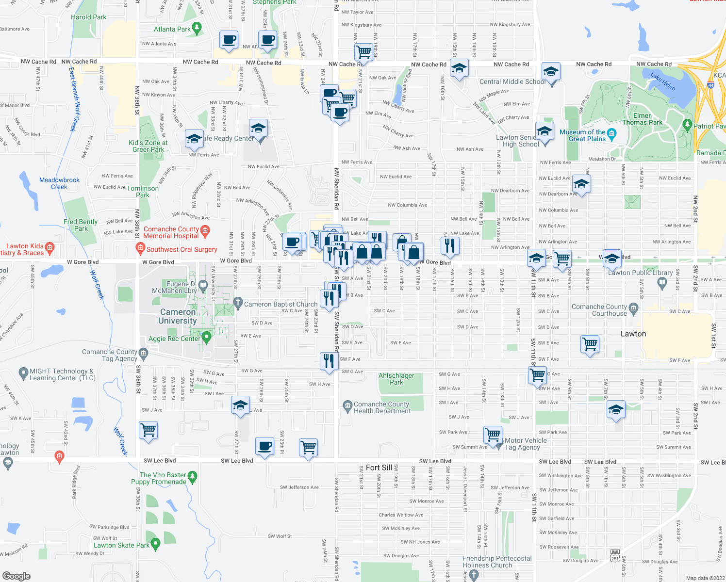 map of restaurants, bars, coffee shops, grocery stores, and more near 2101 Southwest B Avenue in Lawton