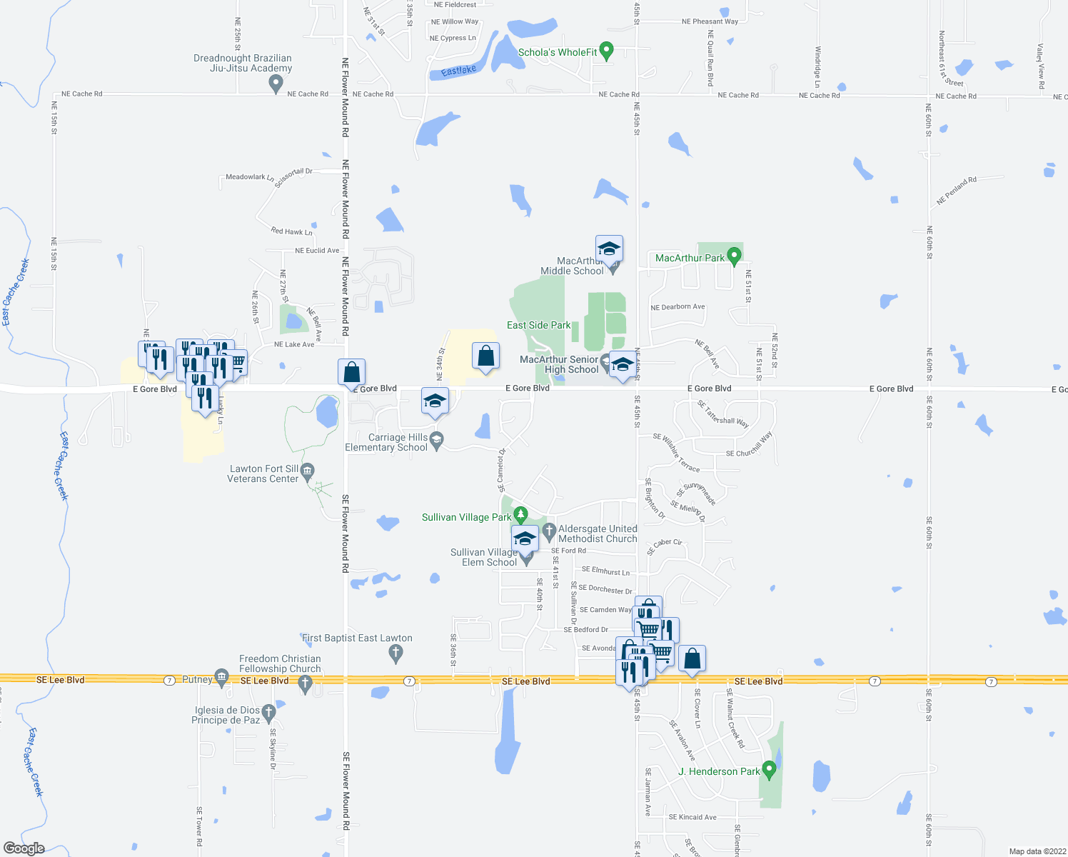 map of restaurants, bars, coffee shops, grocery stores, and more near 16 Southeast Camelot Drive in Lawton