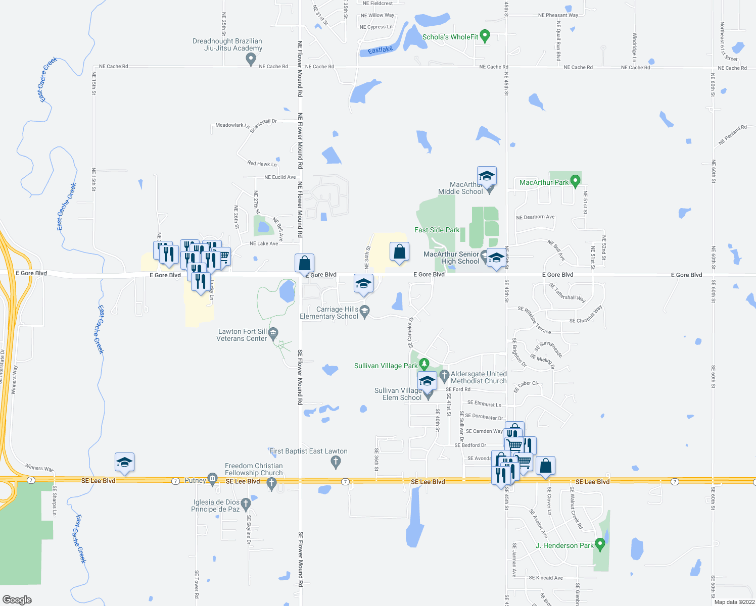 map of restaurants, bars, coffee shops, grocery stores, and more near 300-316 Southeast Warwick Way in Lawton