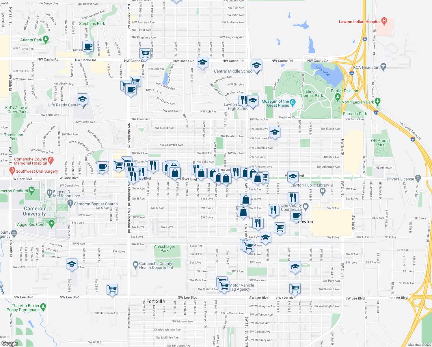 map of restaurants, bars, coffee shops, grocery stores, and more near 1314 Northwest Arlington Avenue in Lawton