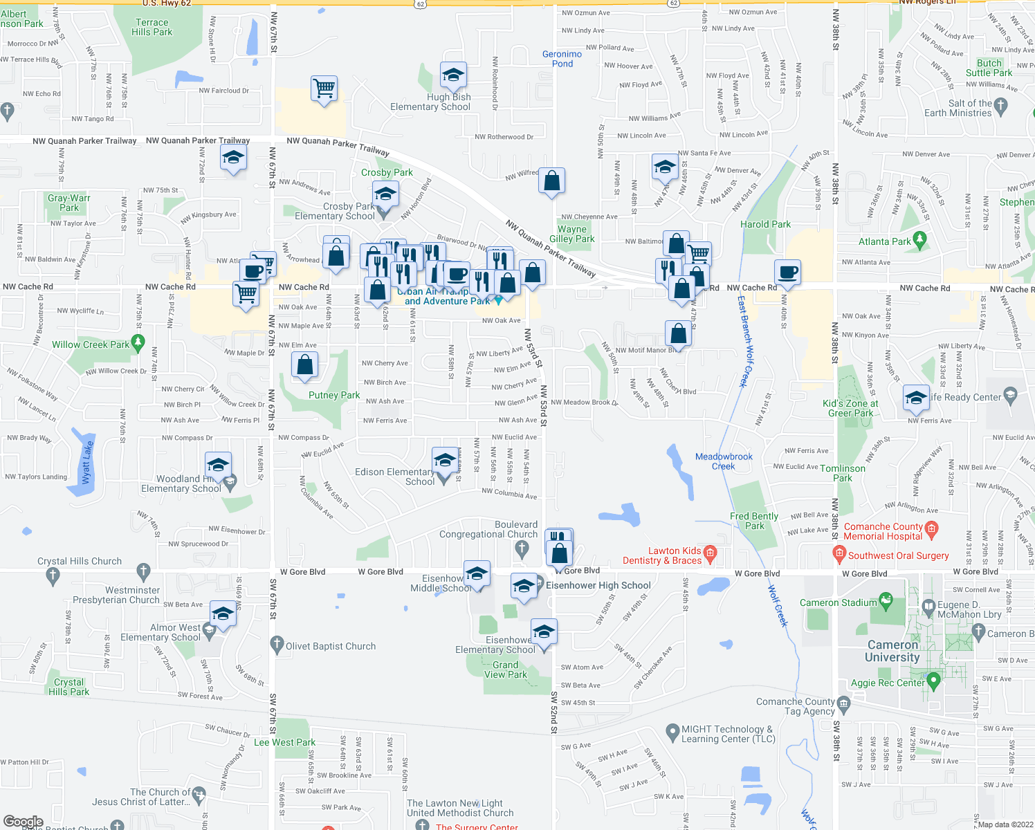 map of restaurants, bars, coffee shops, grocery stores, and more near 5319 Northwest Ash Avenue in Lawton