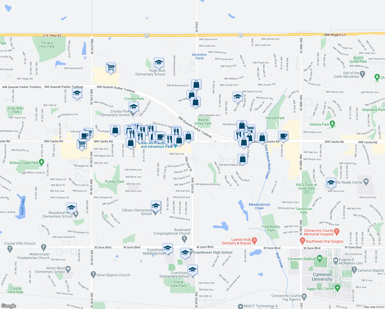 map of restaurants, bars, coffee shops, grocery stores, and more near 1315 Northwest 53rd Street in Lawton