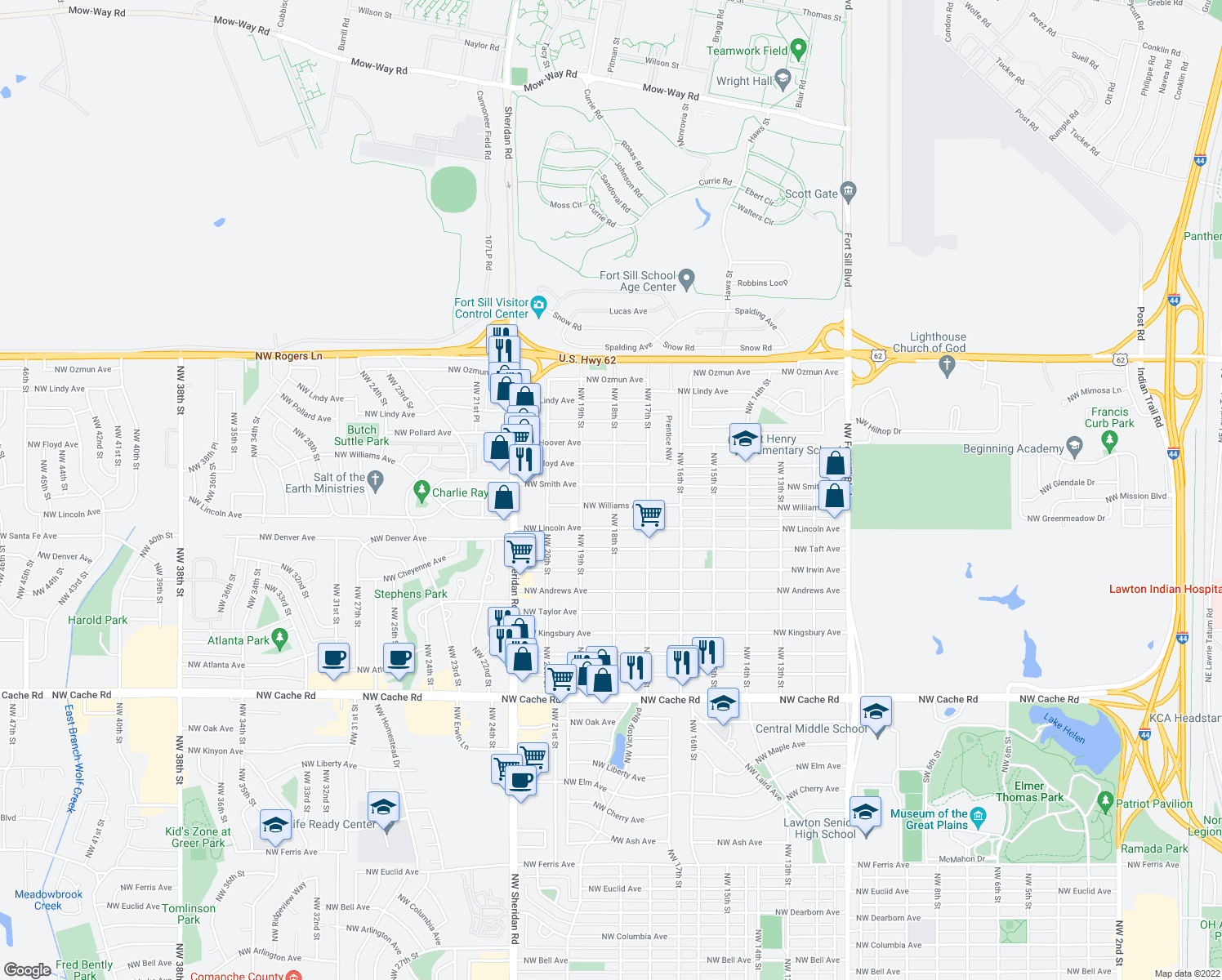 map of restaurants, bars, coffee shops, grocery stores, and more near 1713 Northwest Williams Avenue in Lawton