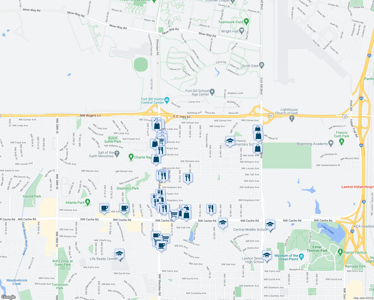 map of restaurants, bars, coffee shops, grocery stores, and more near 1811 Northwest Floyd Avenue in Lawton
