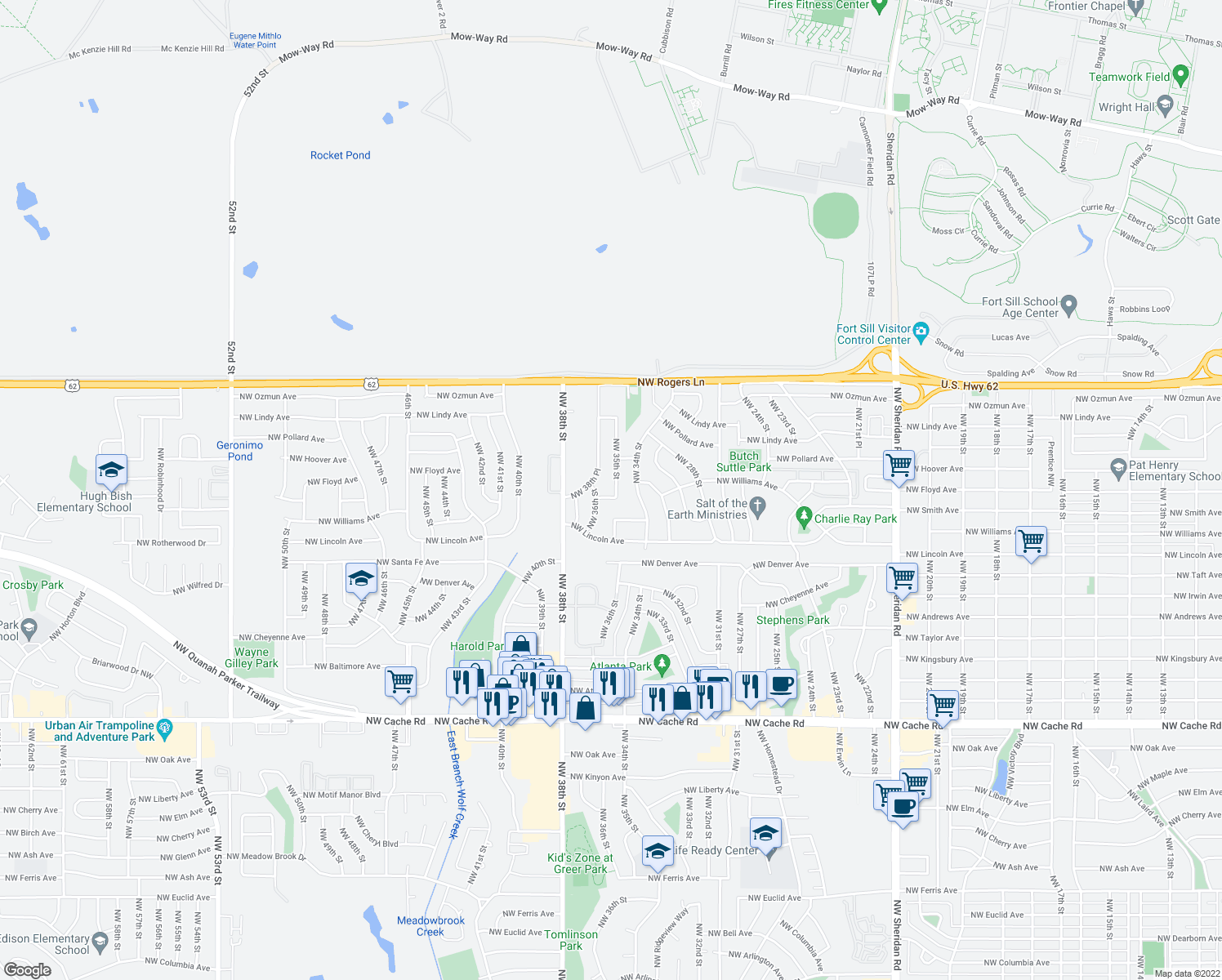 map of restaurants, bars, coffee shops, grocery stores, and more near 2304 Northwest 35th Street in Lawton