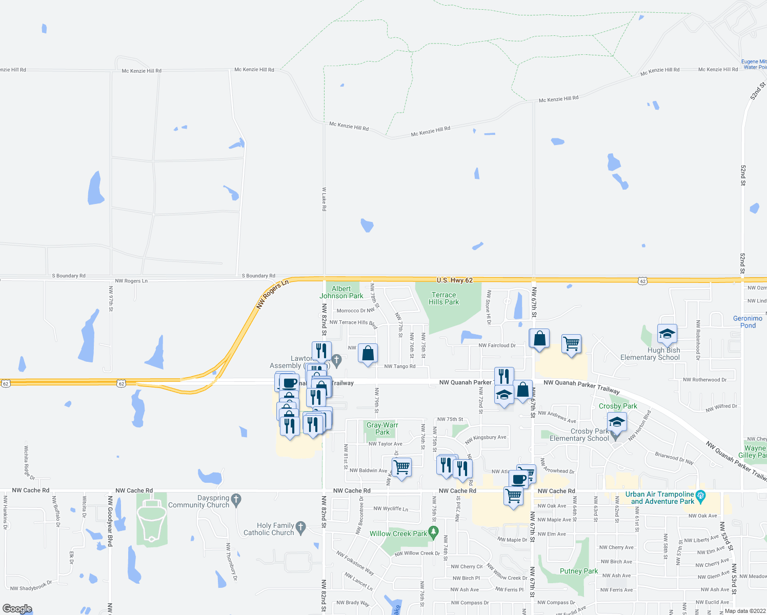 map of restaurants, bars, coffee shops, grocery stores, and more near 2620 Northwest 77th Street in Lawton