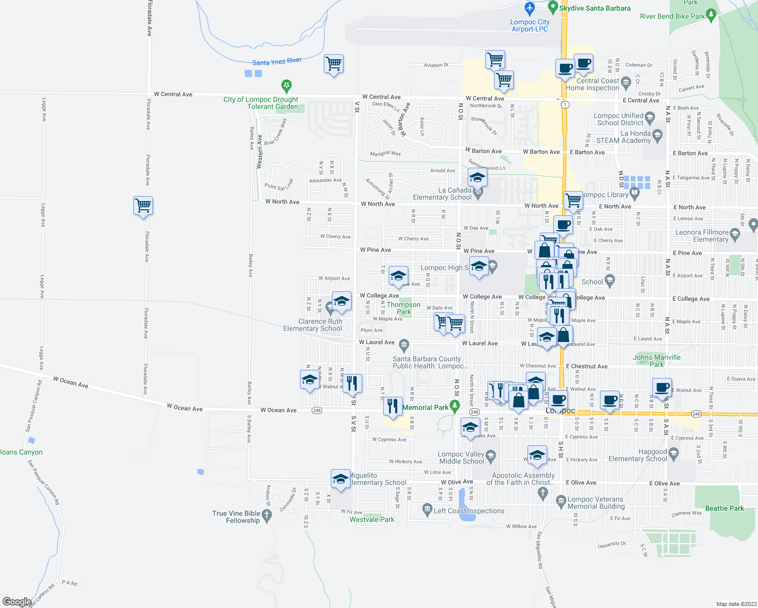 map of restaurants, bars, coffee shops, grocery stores, and more near 525 North T Street in Lompoc