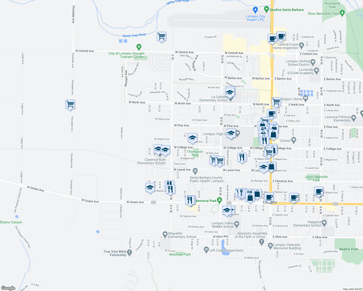 map of restaurants, bars, coffee shops, grocery stores, and more near 1309 W College Ave in Lompoc