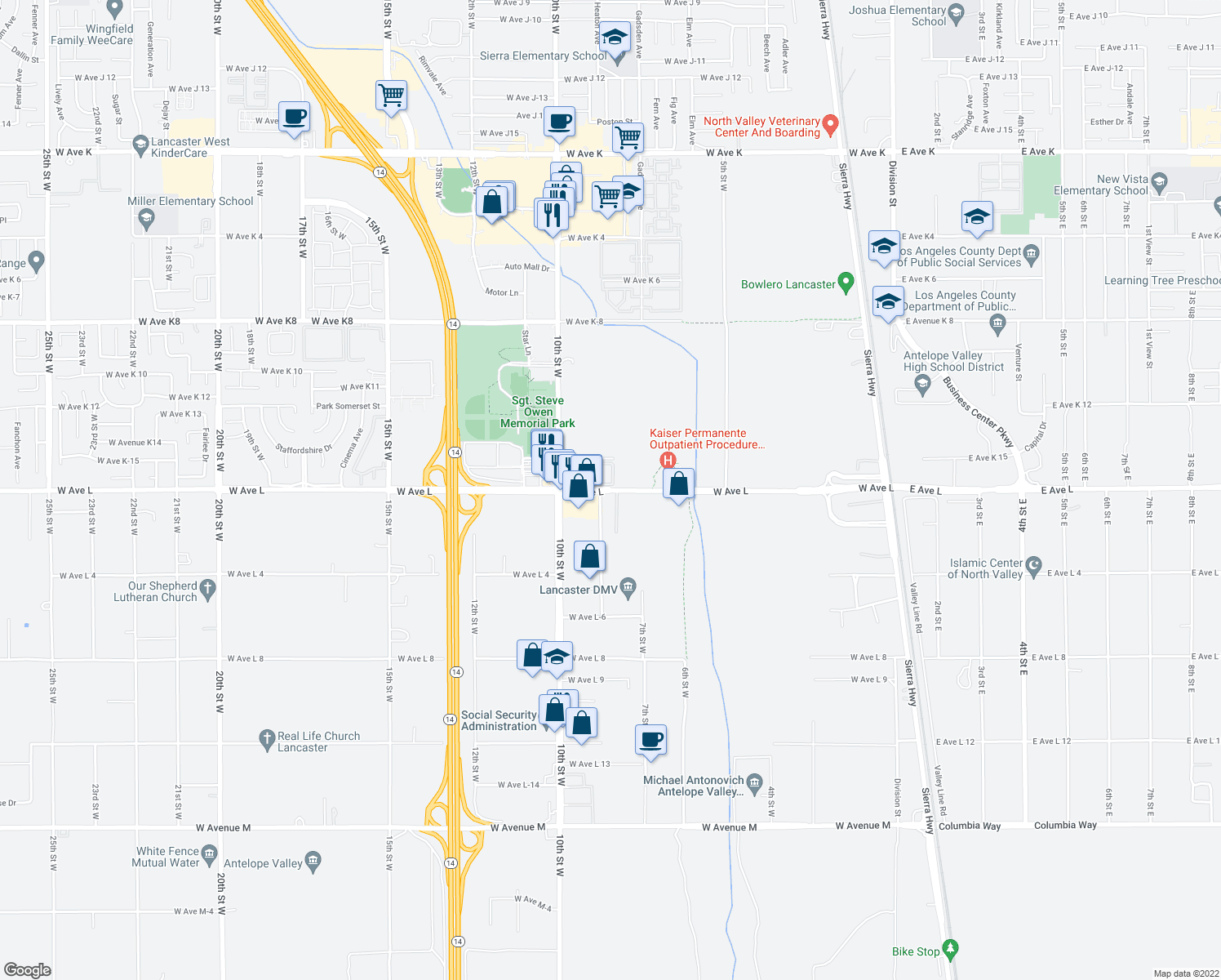 map of restaurants, bars, coffee shops, grocery stores, and more near 749 West Avenue L in Lancaster
