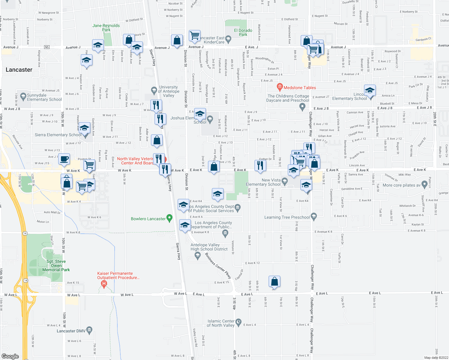 map of restaurants, bars, coffee shops, grocery stores, and more near 43531 Kirkland Ave in Lancaster