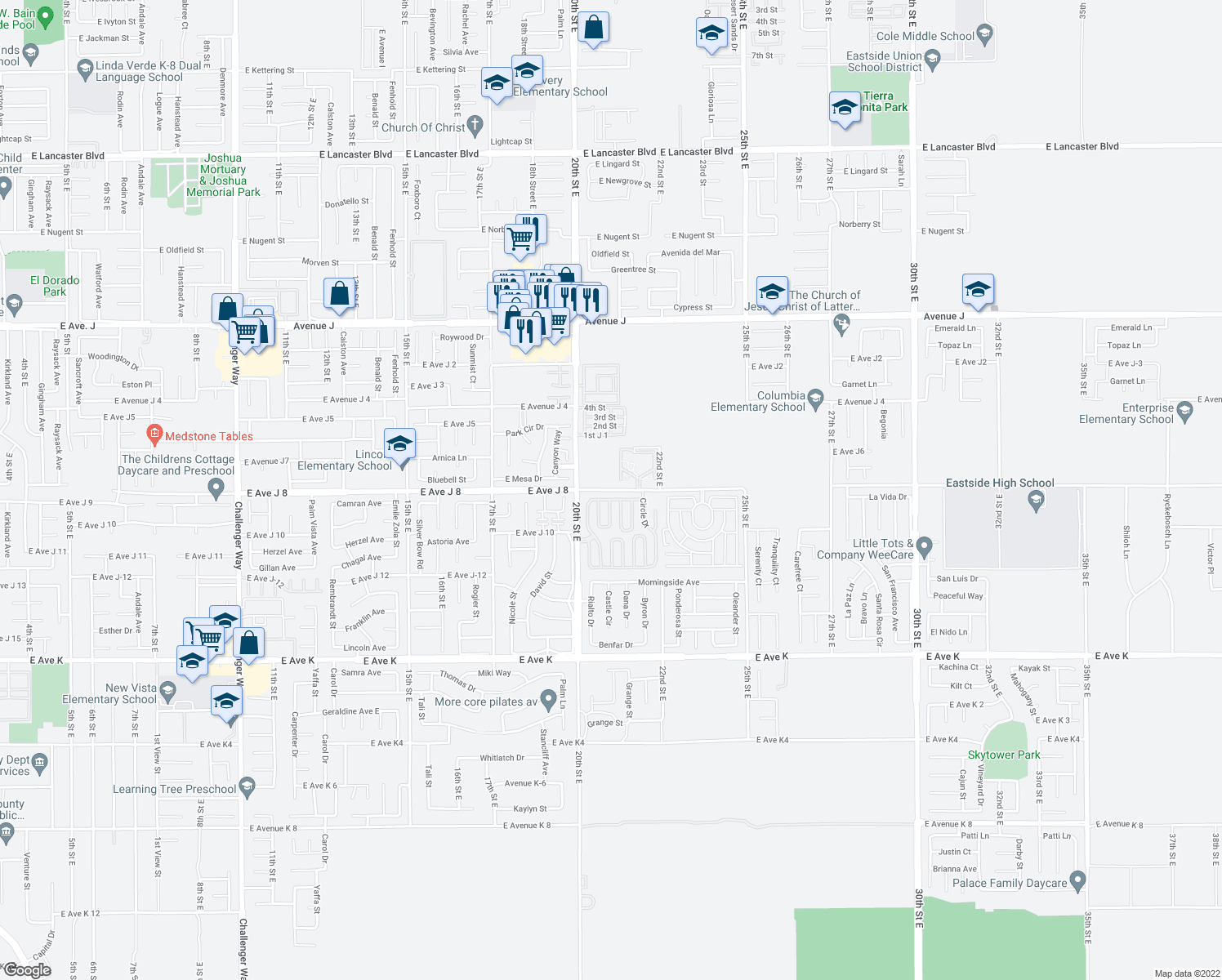 map of restaurants, bars, coffee shops, grocery stores, and more near 2001-2099 East Avenue J 8 in Lancaster