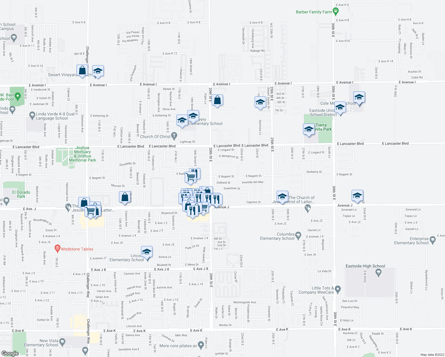 map of restaurants, bars, coffee shops, grocery stores, and more near 2001-2135 East Nugent Street in Lancaster