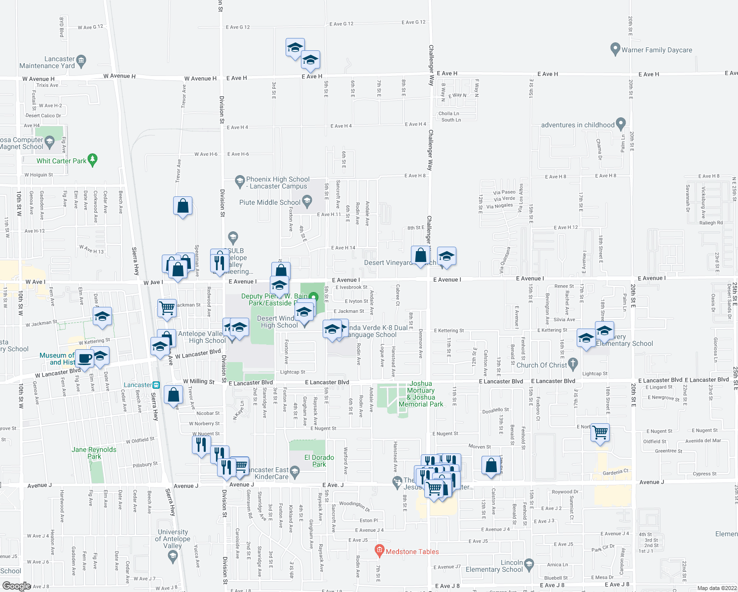map of restaurants, bars, coffee shops, grocery stores, and more near 45054-45098 Andale Avenue in Lancaster