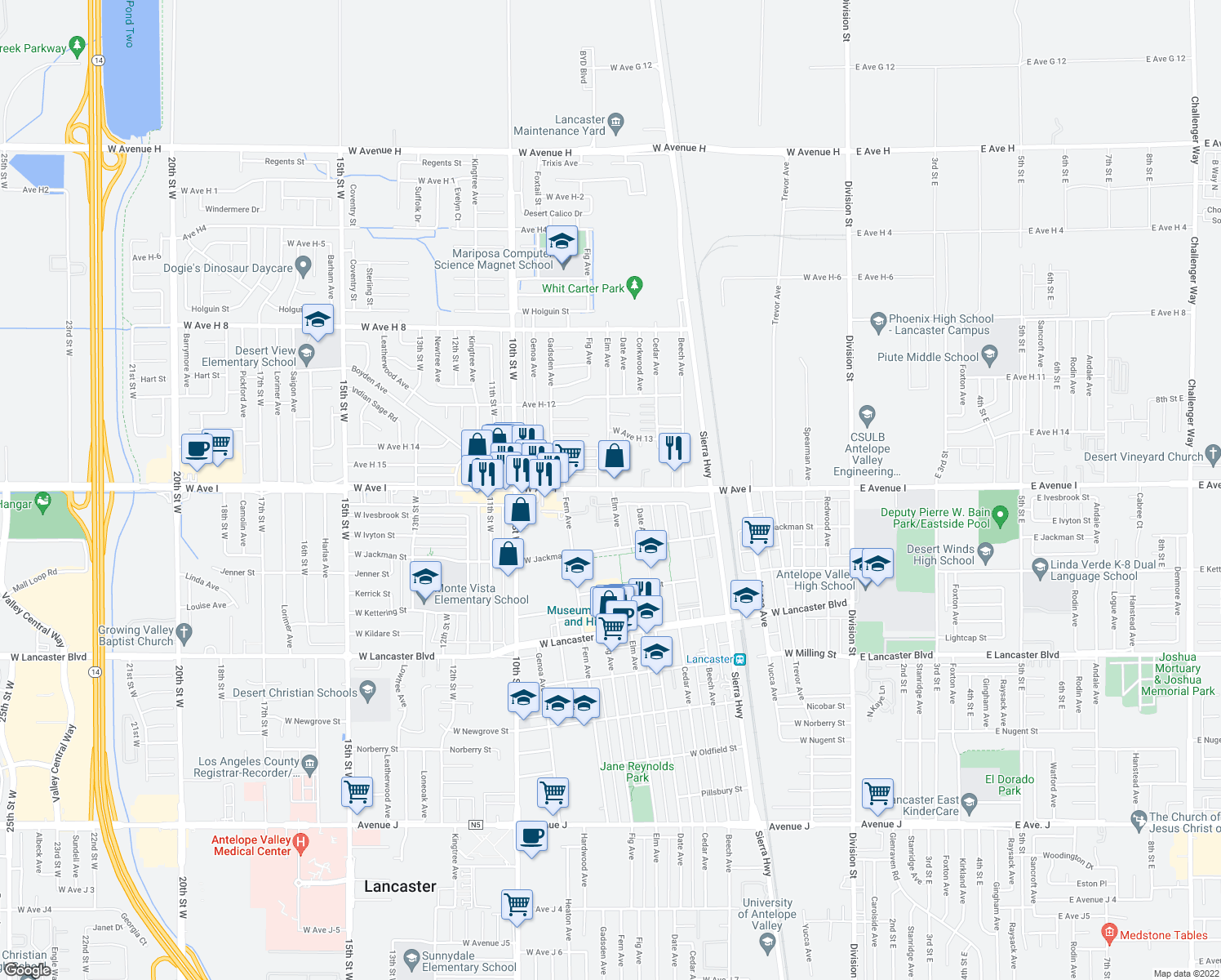 map of restaurants, bars, coffee shops, grocery stores, and more near 673 West Avenue I in Lancaster