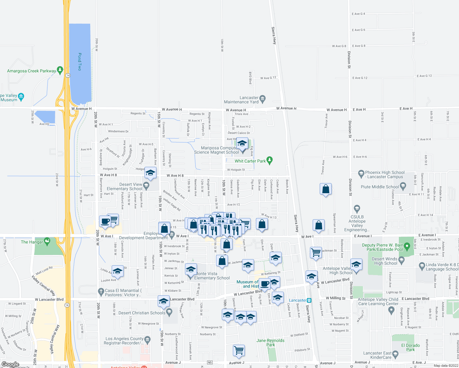map of restaurants, bars, coffee shops, grocery stores, and more near 45521 Genoa Ave in Lancaster
