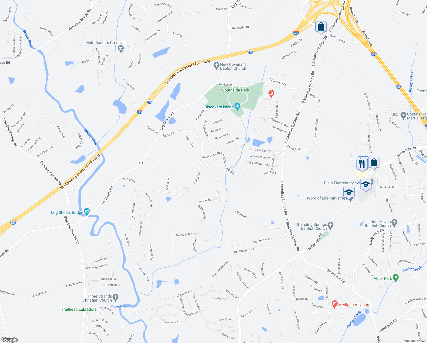 map of restaurants, bars, coffee shops, grocery stores, and more near 1-99 Old Field Dr in Simpsonville