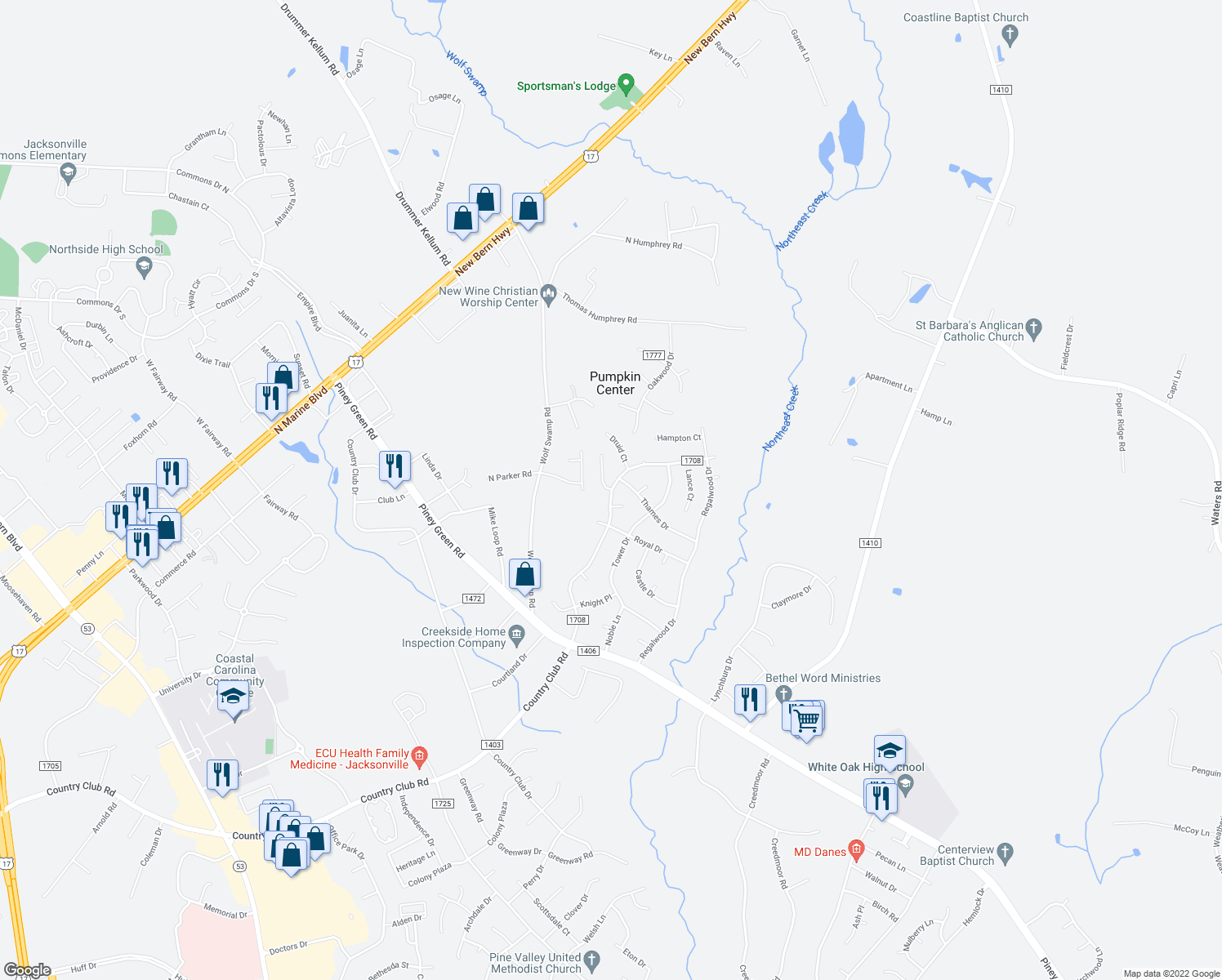 map of restaurants, bars, coffee shops, grocery stores, and more near 2608 Country Club Road in Jacksonville