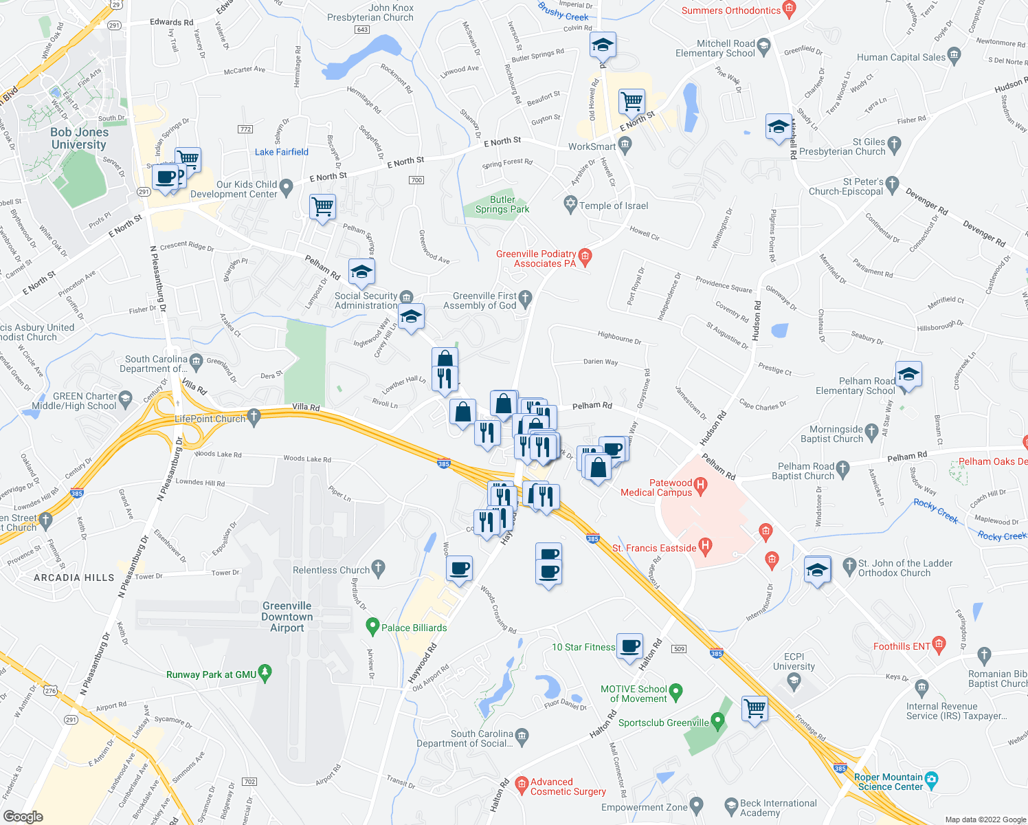 map of restaurants, bars, coffee shops, grocery stores, and more near Pelham Rd & Haywood Rd in Greenville