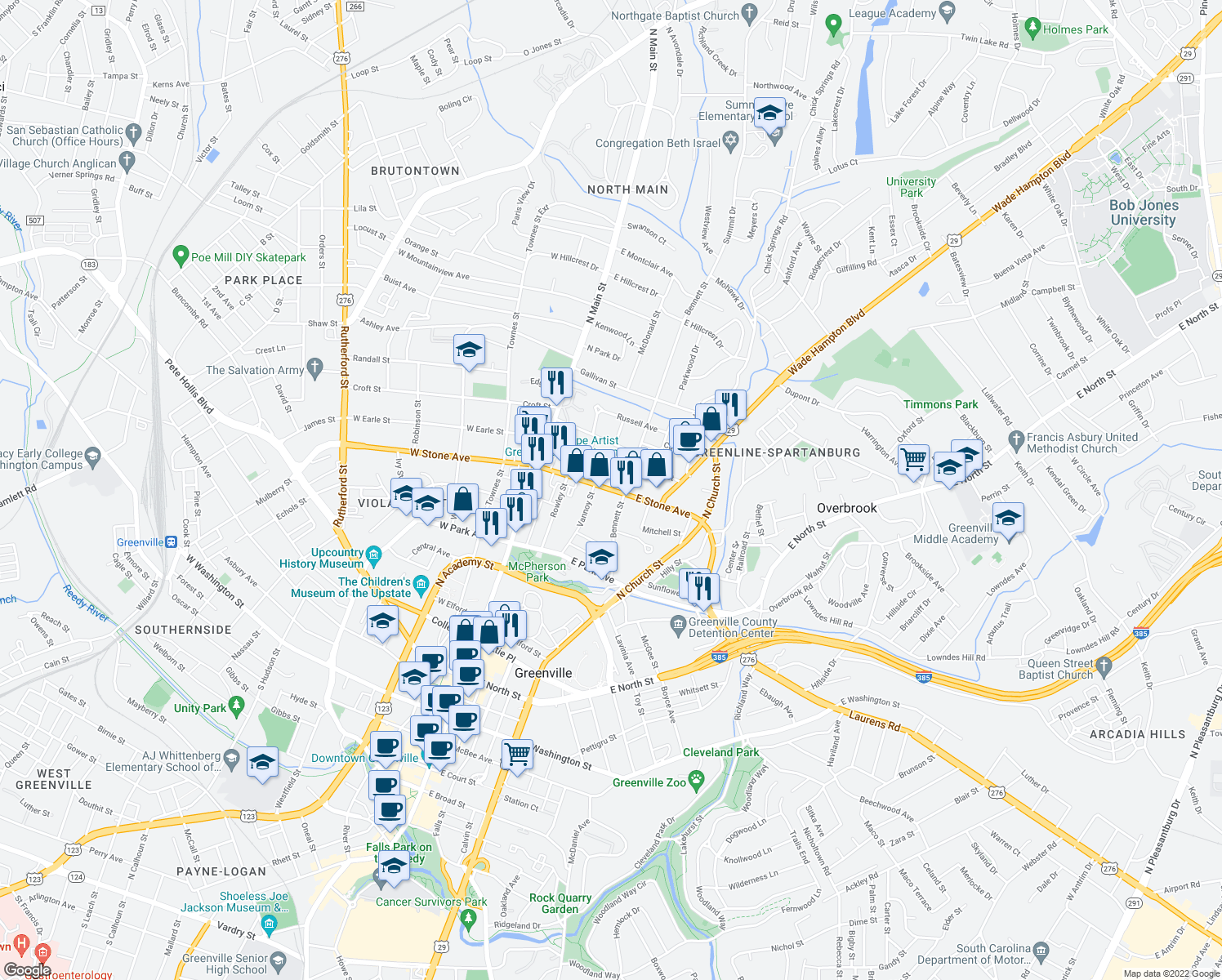 map of restaurants, bars, coffee shops, grocery stores, and more near 208 E Stone Ave in Greenville