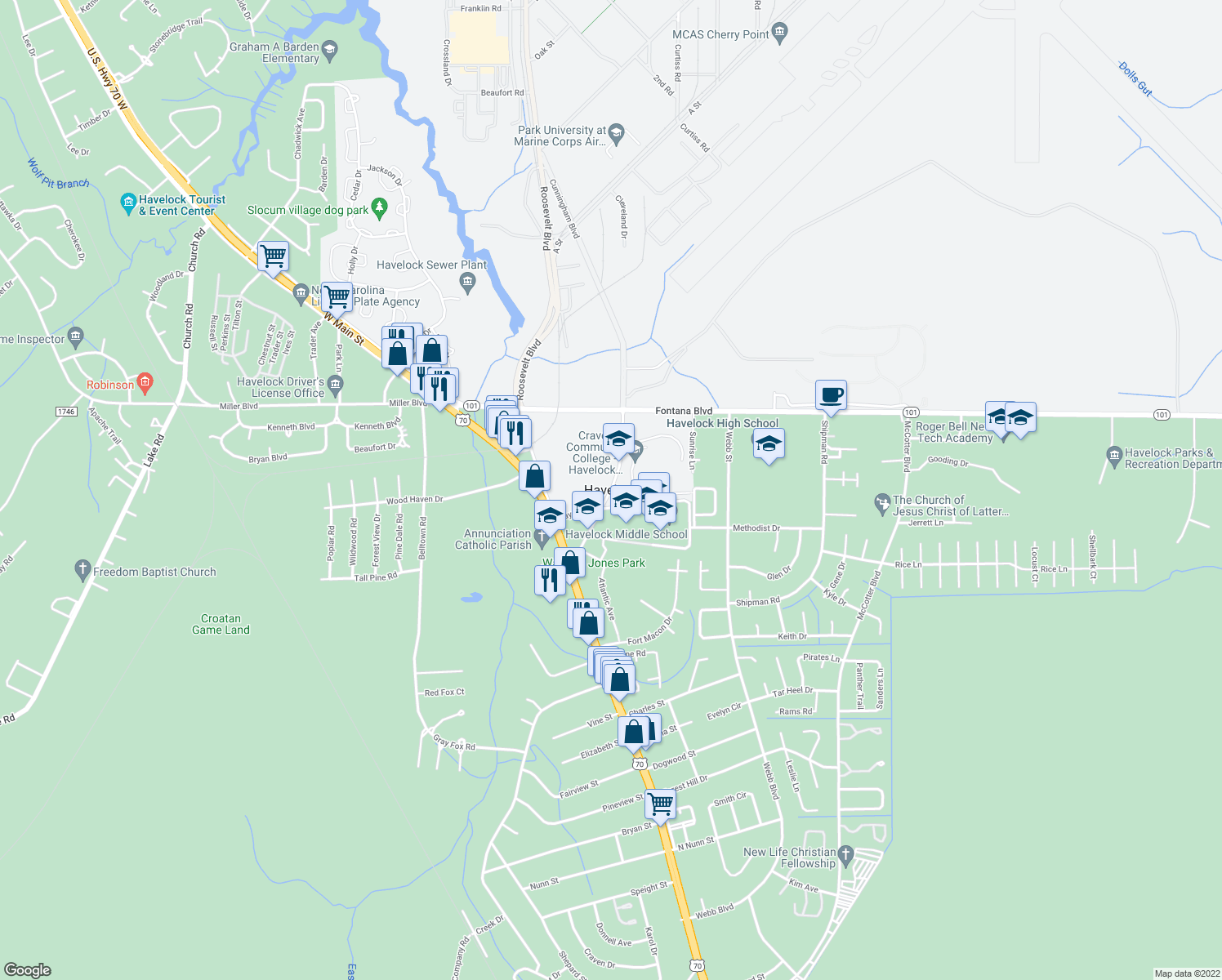 map of restaurants, bars, coffee shops, grocery stores, and more near in Havelock