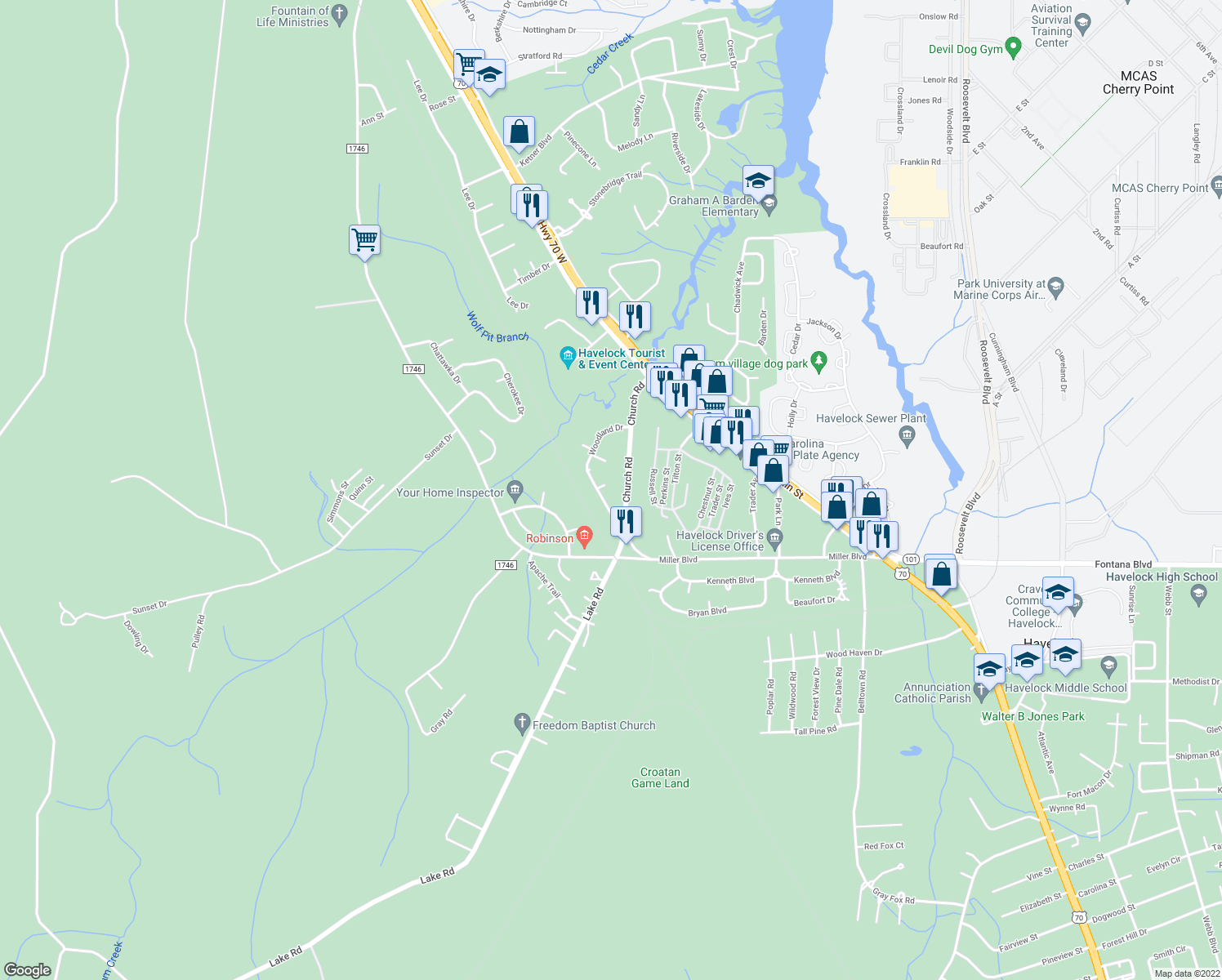 map of restaurants, bars, coffee shops, grocery stores, and more near 124 Woodland Drive in Havelock