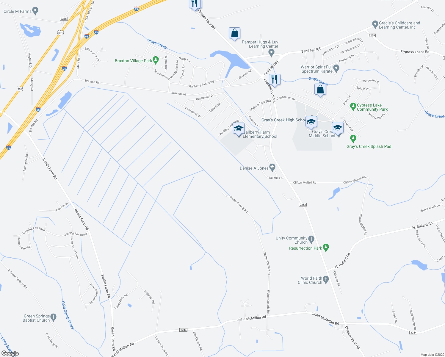 map of restaurants, bars, coffee shops, grocery stores, and more near in Hope Mills