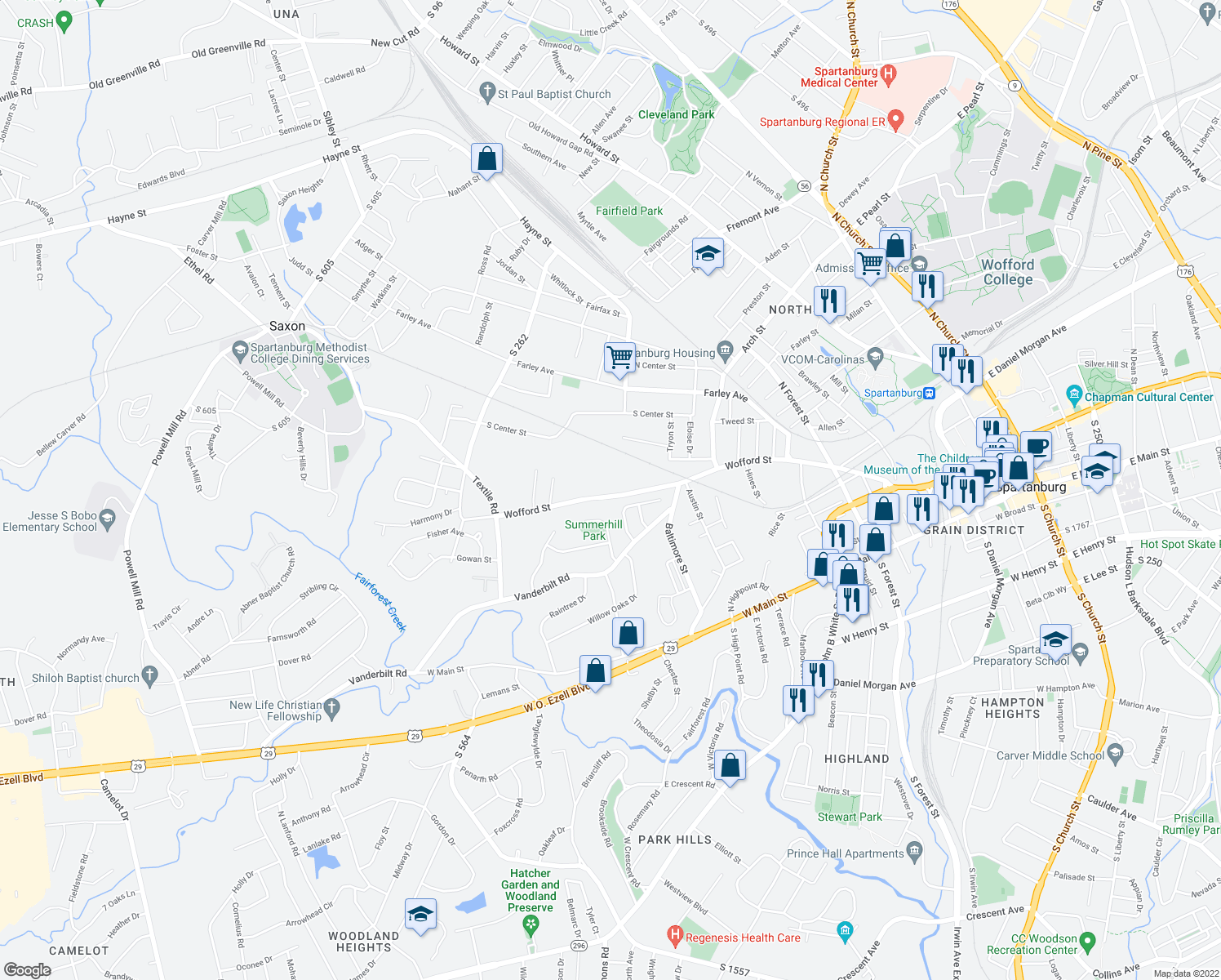 map of restaurants, bars, coffee shops, grocery stores, and more near 752 Wofford Street in Spartanburg