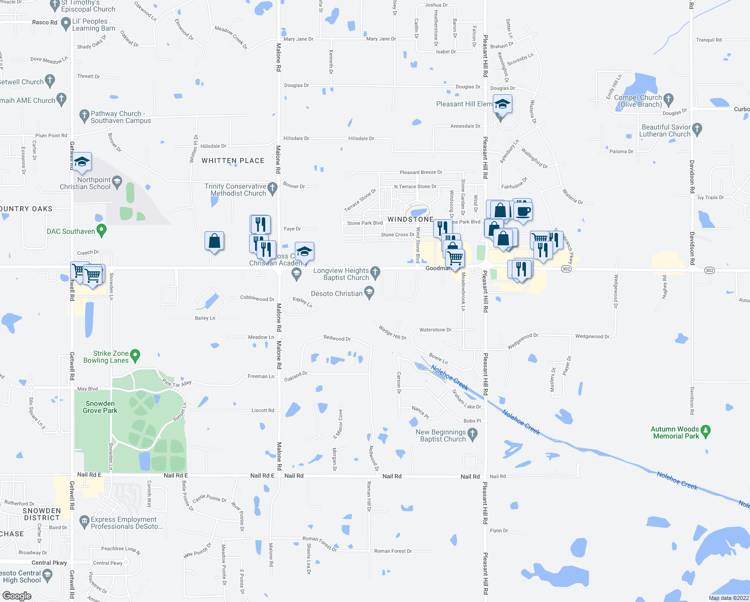 map of restaurants, bars, coffee shops, grocery stores, and more near 4501 Goodman Road in Olive Branch