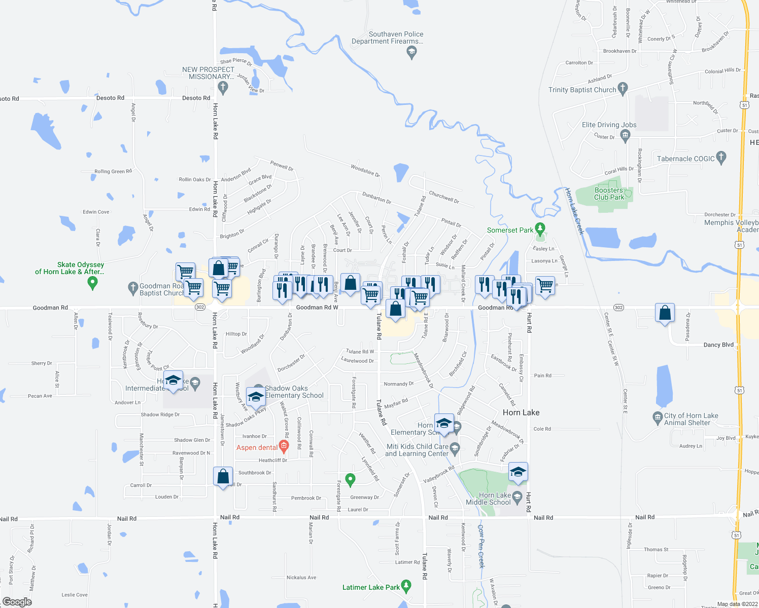 map of restaurants, bars, coffee shops, grocery stores, and more near 7100-7102 Tulane Road in Horn Lake