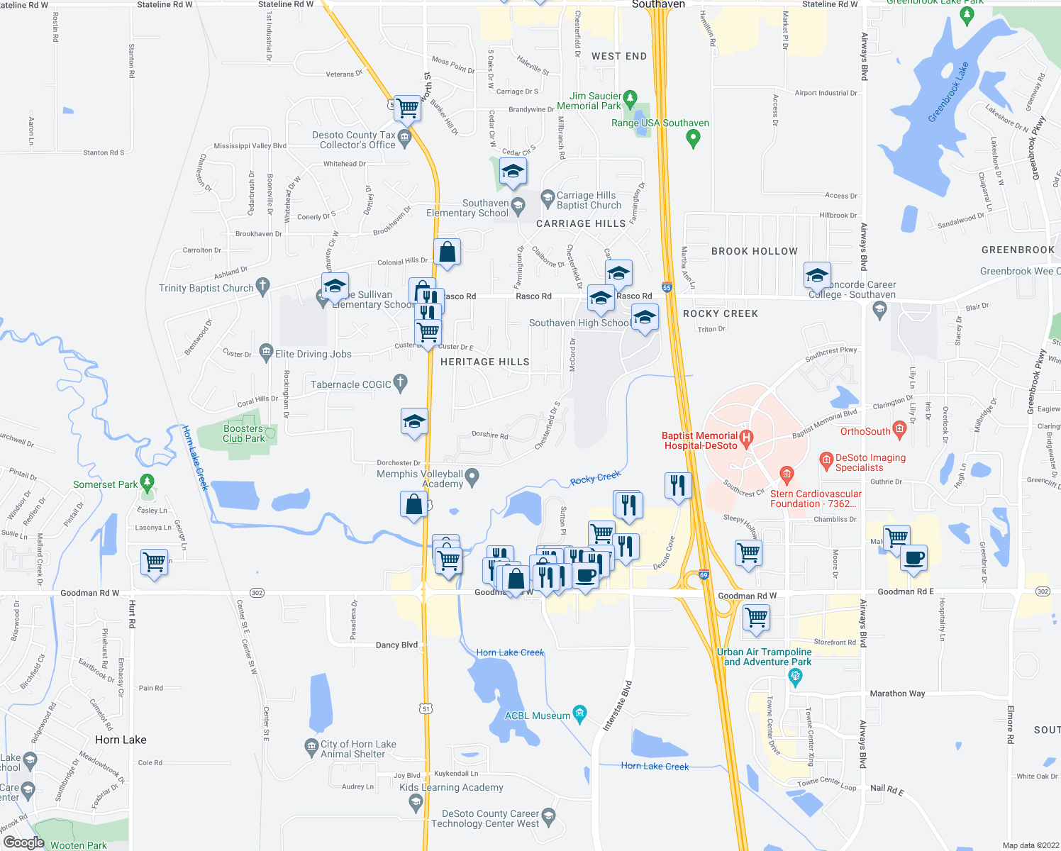 map of restaurants, bars, coffee shops, grocery stores, and more near Chesteridge Ave in Southaven
