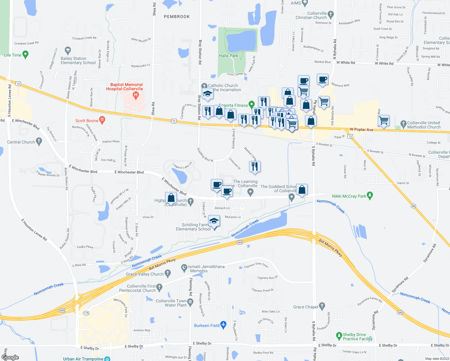 map of restaurants, bars, coffee shops, grocery stores, and more near 160 Madison Farms Lane in Collierville