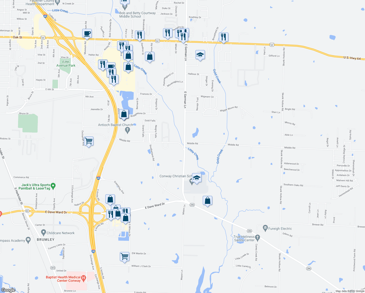 map of restaurants, bars, coffee shops, grocery stores, and more near 100-140 E German Ln in Conway