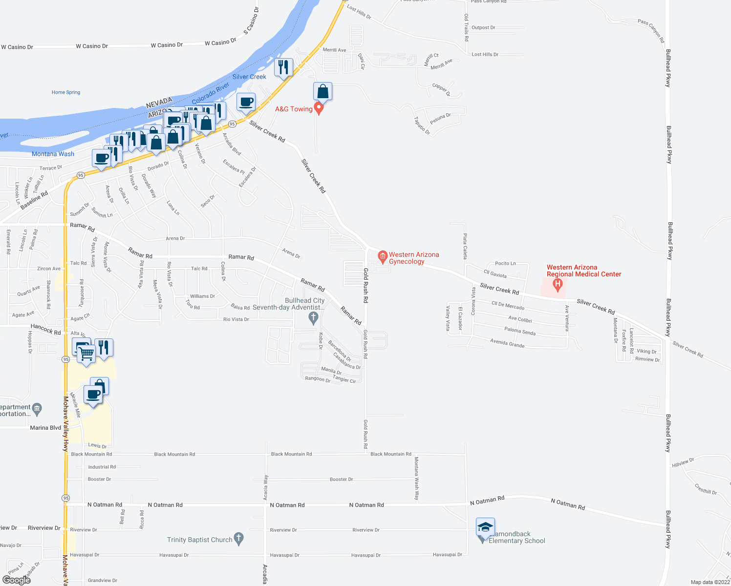 map of restaurants, bars, coffee shops, grocery stores, and more near 1646 Goldrush Rd in Bullhead City