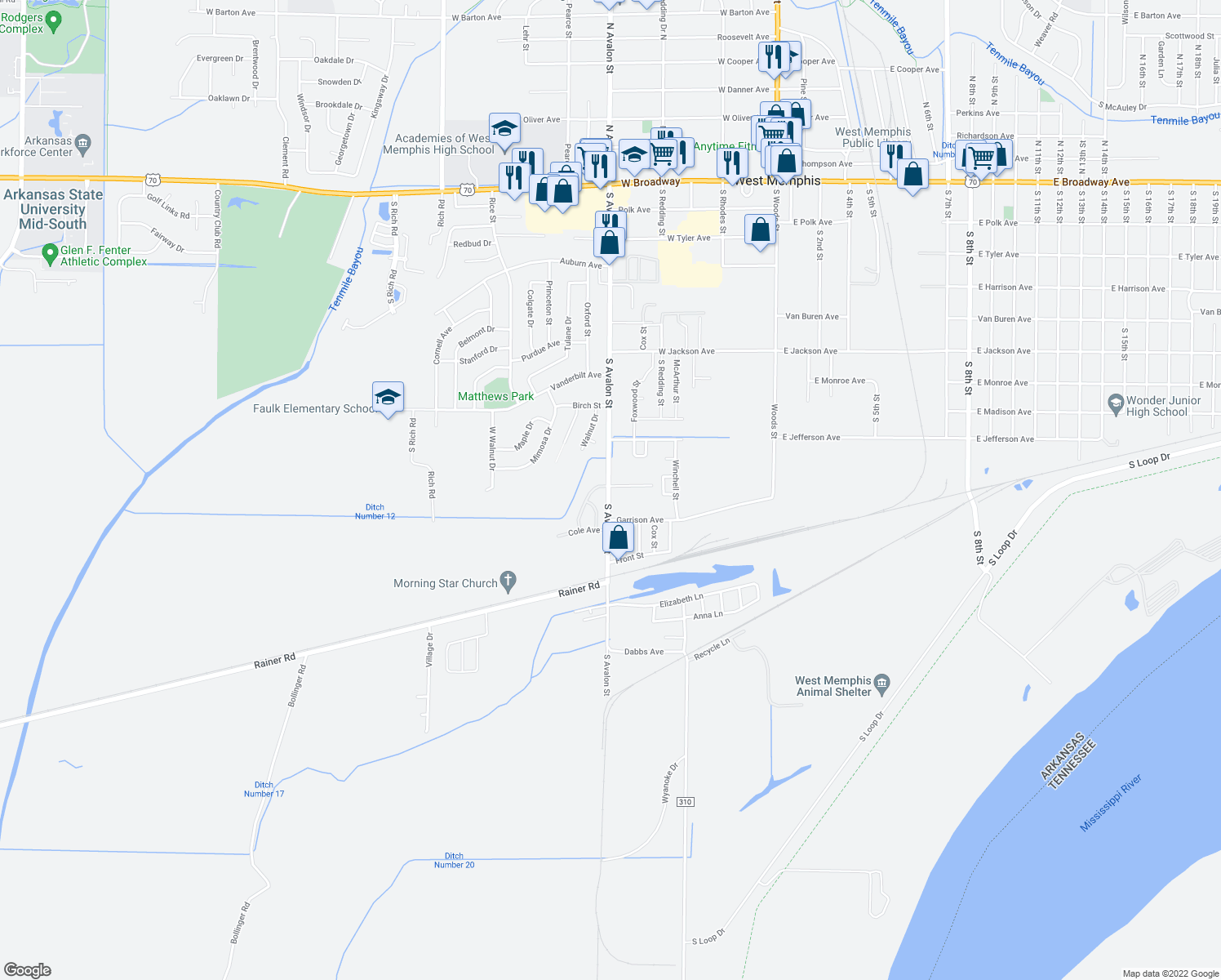 map of restaurants, bars, coffee shops, grocery stores, and more near 1102 South Avalon Street in West Memphis